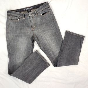 New York & Co Mid rise straight grey jeans 10